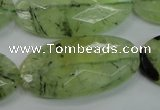CRU141 15.5 inches 20*40mm faceted oval green rutilated quartz beads