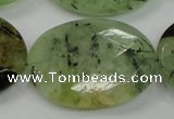 CRU142 15.5 inches 30*40mm faceted oval green rutilated quartz beads