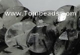 CRU16 15.5 inches 15*20mm faceted oval black rutilated quartz beads