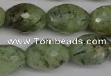 CRU168 15.5 inches 15*20mm faceted rice green rutilated quartz beads