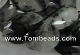 CRU17 15.5 inches 18*25mm faceted oval black rutilated quartz beads