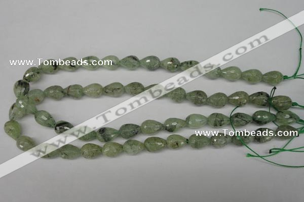 CRU173 15.5 inches 10*14mm faceted teardrop green rutilated quartz beads