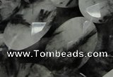 CRU18 15.5 inches 22*25mm faceted oval black rutilated quartz beads