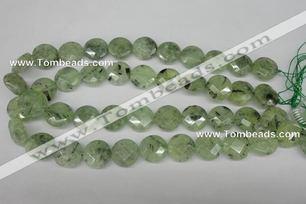 CRU185 15.5 inches 18mm faceted coin green rutilated quartz beads