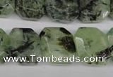 CRU194 Top-drilled 15*17mm faceted rectangle green rutilated quartz beads