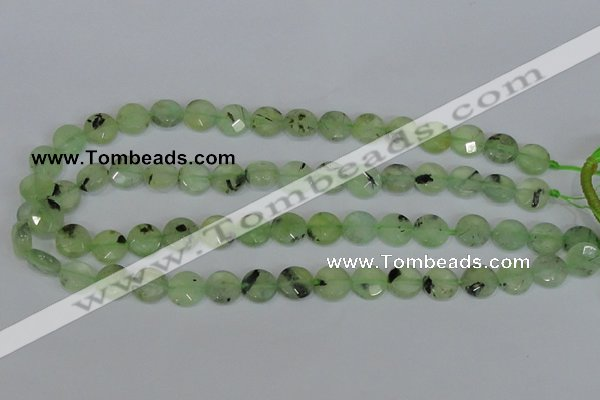 CRU210 15 inches 12mm faceted coin green rutilated quartz beads