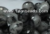 CRU25 15.5 inches 12*16mm faceted egg-shaped black rutilated quartz beads