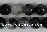 CRU306 15.5 inches 14mm round black rutilated quartz beads