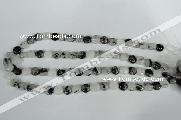 CRU338 15.5 inches 10mm flat round black rutilated quartz beads