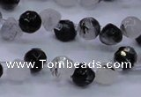 CRU345 Top drilled 7*7mm faceted teardrop black rutilated quartz beads