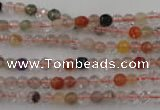 CRU400 15.5 inches 4mm faceted round Multicolor rutilated quartz beads
