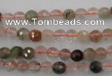 CRU401 15.5 inches 6mm faceted round Multicolor rutilated quartz beads