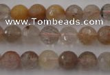 CRU403 15.5 inches 10mm faceted round Multicolor rutilated quartz beads