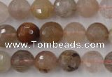 CRU404 15.5 inches 12mm faceted round Multicolor rutilated quartz beads