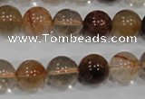 CRU456 15.5 inches 12mm round Multicolor rutilated quartz beads