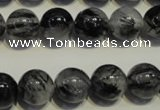 CRU504 15.5 inches 12mm round black rutilated quartz beads wholesale