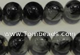 CRU505 15.5 inches 14mm round black rutilated quartz beads wholesale