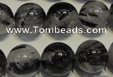 CRU506 15.5 inches 16mm round black rutilated quartz beads wholesale