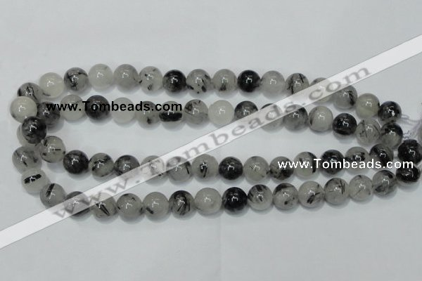 CRU53 15.5 inches 10mm round black rutilated quartz beads wholesale