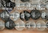CRU531 15.5 inches 4mm round black rutilated quartz beads