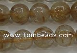 CRU553 15.5 inches 10mm round golden rutilated quartz beads