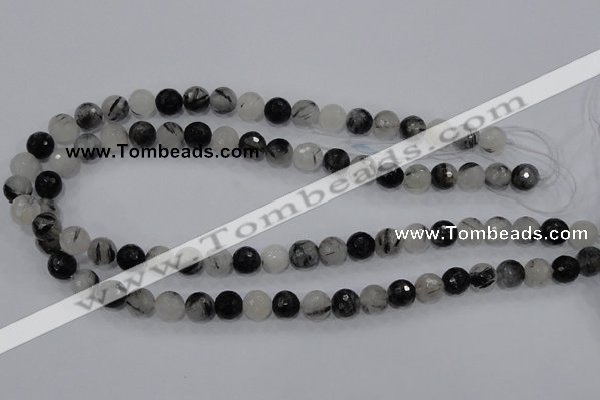 CRU59 15.5 inches 10mm faceted round black rutilated quartz beads