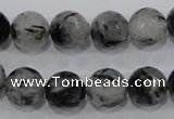 CRU61 15.5 inches 14mm faceted round black rutilated quartz beads