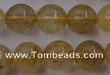 CRU613 15.5 inches 10mm round golden rutilated quartz beads