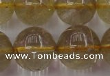 CRU615 15.5 inches 14mm round golden rutilated quartz beads