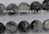 CRU62 15.5 inches 16mm faceted round black rutilated quartz beads