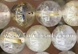 CRU637 15.5 inches 8mm round golden rutilated quartz beads