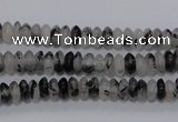 CRU64 15.5 inches 3*6mm rondelle black rutilated quartz beads