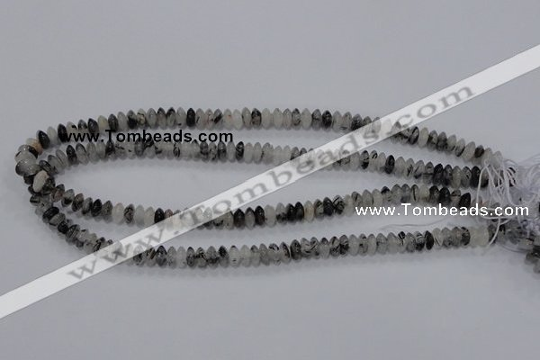 CRU65 15.5 inches 4*8mm rondelle black rutilated quartz beads