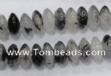 CRU67 15.5 inches 6*12mm rondelle black rutilated quartz beads