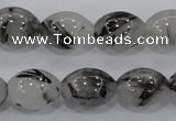 CRU72 15.5 inches 12*16mm rice black rutilated quartz beads wholesale