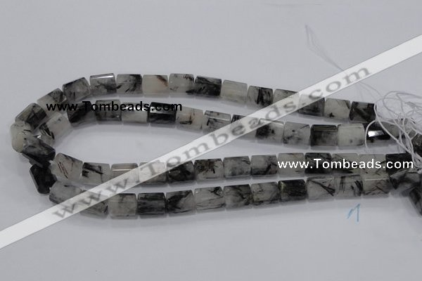 CRU76 15.5 inches 10*14mm faceted column black rutilated quartz beads