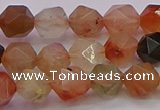 CRU767 15.5 inches 8mm faceted nuggets mixed rutilated quartz beads