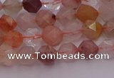 CRU776 15.5 inches 6mm faceted nuggets mixed rutilated quartz beads