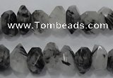 CRU78 15.5 inches 8*14mm faceted nugget black rutilated quartz beads