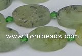 CRU783 15.5 inches 13*20mm oval green rutilated quartz beads