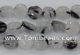 CRU79 15.5 inches 10mm flat round black rutilated quartz beads