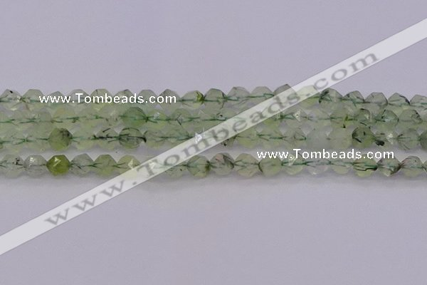 CRU791 15.5 inches 6mm faceted nuggets green rutilated quartz beads