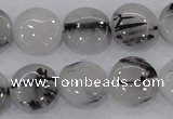 CRU81 15.5 inches 16mm flat round black rutilated quartz beads