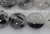 CRU82 15.5 inches 20mm flat round black rutilated quartz beads
