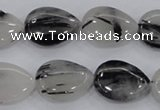 CRU87 15.5 inches 15*20mm flat teardrop black rutilated quartz beads