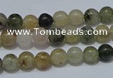 CRU900 15.5 inches 4mm round green rutilated quartz beads wholesale