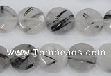 CRU93 15.5 inches 14mm faceted coin black rutilated quartz beads