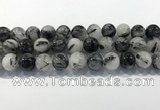 CRU933 15.5 inches 16mm round black rutilated quartz beads wholesale