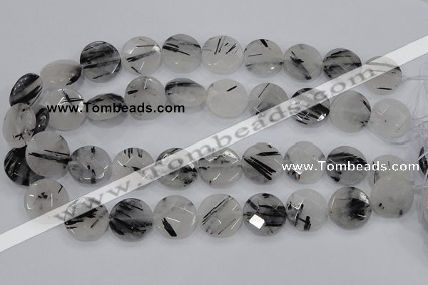 CRU94 15.5 inches 20mm faceted coin black rutilated quartz beads