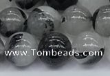 CRU955 15.5 inches 8mm round black rutilated quartz beads